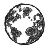 The doodle earth. Isolated sketchy doodle earth on white background Royalty Free Stock Photo