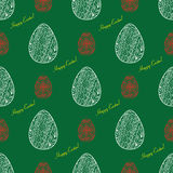doodle Easter pattern on the green background. Vector seamless d Stock Image