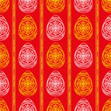 doodle Easter seamless with eggs on a red background, vector, se Stock Photography
