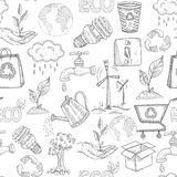 Doodle Ecology Seamless Royalty Free Stock Photo