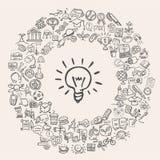 Doodle edukaci ikony Obrazy Stock