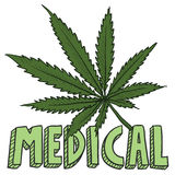 Bosquejo de la marijuana de Medica Foto de archivo