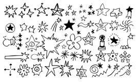 Doodle el conjunto de elemento de la estrella Imágenes de archivo libres de regalías