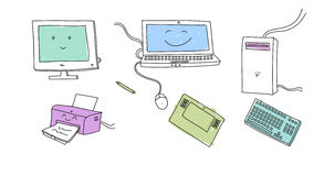 Doodle electronical devices Royalty Free Stock Photo