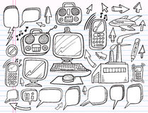Doodle Electronics Work Business  set Royalty Free Stock Photos