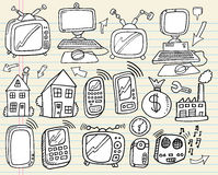 Doodle Electronics Work Business set Stock Images