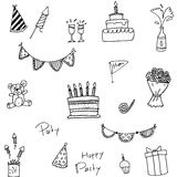 Doodle of element birthday party Royalty Free Stock Image