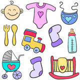 Doodle of element toys for baby Stock Images