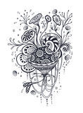 Doodle elements abstract world in handmade style black on white Royalty Free Stock Photo