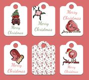 Set of Christmas tags in vector royalty free illustration