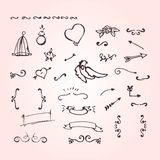 Doodle elements of ornate arrow frame heart flower. Stock Photography