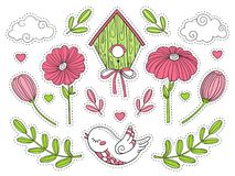 Bird, flowers, birdhouse, leaves, clouds. A set of doodle elements. Doodle Elements. A set of stickers. Isolated image for design royalty free illustration