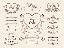 Doodle elements for valentine or wedding design. Hand drawn arrows, hearts, dividers, ribbon banners. Vector set. Royalty Free Stock Image