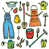 Doodle engraçado do jogo de ferramentas da jardinagem Fotos de Stock Royalty Free