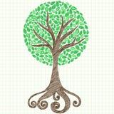 Doodle esboçado do caderno da árvore no papel de gráfico Fotografia de Stock Royalty Free