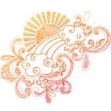 Doodle esboçado do caderno de Sun do verão Fotos de Stock Royalty Free