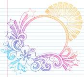Doodle esboçado do vetor da praia do verão do hibiscus ilustração do vetor