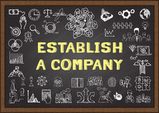 Doodle about establish a company on chalkboard. Doodle about establish a company on chalkboard stock illustration