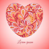 Doodle ethnic pattern heart. Card Royalty Free Stock Images