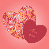 Doodle ethnic pattern hearts frame Stock Photo