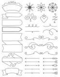 Doodle etykietki, zawijasy & strzała, Fotografia Royalty Free