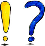 Doodle Exclamation and Question Mark. Vector doodle Exclamation and Question Mark Stock Photography