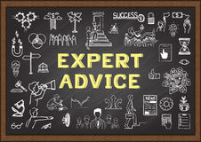 Doodle about expert advice on chalkboard Royalty Free Stock Photography