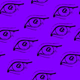 Doodle eye. Magenta Doodle eye, seamless pattern Royalty Free Stock Photography