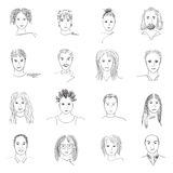Doodle faces. Hand-drawn doodle faces of people of different styles and nationalities Stock Images