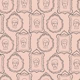 Doodle Faces Portrait Frames Sketchy Seamless Pattern, Line Art Vector