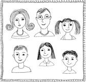Doodle faces Stock Photography