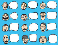 Doodle Faces with Speech Bubbles Royalty Free Stock Images