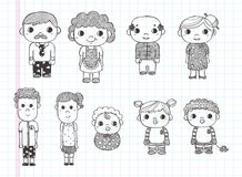 Doodle Family Icons, Illustrator Line Tools Drawin Royalty Free Stock Photography
