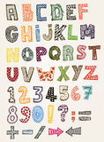 Doodle Fancy ABC Alphabet. Illustration of a set of hand drawn sketched and doodled kids ABC letters and font characters, in childish style also containing Stock Photos