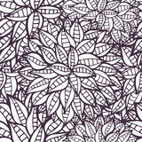 Doodle fantasy flowers outline ornamental seamless pattern Stock Photography
