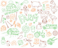 Doodle Farming Icons Set Stock Images