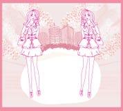 Doodle fashion girl Shopping Royalty Free Stock Photography