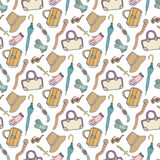 Doodle fashion pattern with accessories and handbags. Vector hand drawn seamless pattern. Woman shopping background Royalty Free Stock Photo