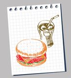 Doodle fast food Royalty Free Stock Photos