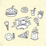 Doodle Fast Food on Paper Royalty Free Stock Photo