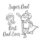 Doodle father day style collection. Vector illustration Stock Photography