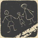 Doodle feliz de la familia. Cuadro en el asfalto. Foto de archivo