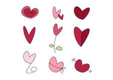 Doodle fijado: Corazones Foto de archivo libre de regalías