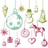 Doodle fijado - etiquetas de Navidad Fotografía de archivo libre de regalías