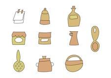 Doodle fijado: Items de la cocina Fotografía de archivo