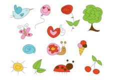 Doodle fijado: Verano (ii) Foto de archivo libre de regalías