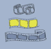 Doodle film strip. Frame on blue background Royalty Free Stock Image
