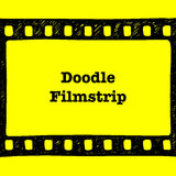 Doodle Film strip movie frame. Vector sketch, scribble illustration, Cinema element Stock Image
