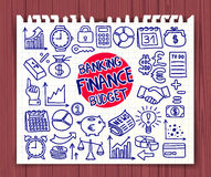Doodle Finance icons Stock Photos