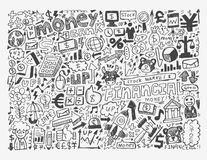 Doodle Finance pattern. Cartoon vector illustration Stock Photo